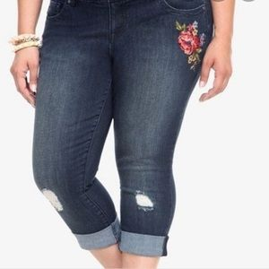 Torrid Embroidered Cropped Jeans